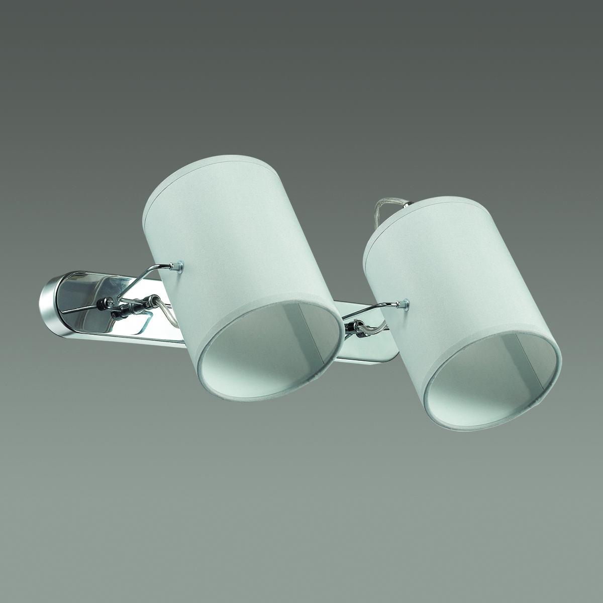 Настенный светильник с регулировкой направления света Lumion Visario 3522/2W, 2xE14x40W, хром, серый, металл, текстиль - фото 4
