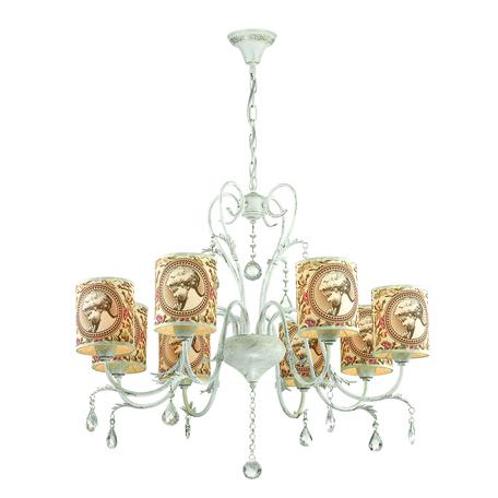 Подвесная люстра Lumion Comfi Aromatrevi 3533/8, 8xE14x60W, белый с золотой патиной, розовый, бежевый, прозрачный, металл, текстиль, хрусталь