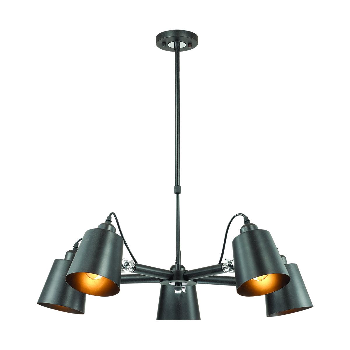 Подвесная люстра с регулировкой направления света Lumion Neropius 3532/5C, 5xE27x60W, хром, черный, металл - фото 1