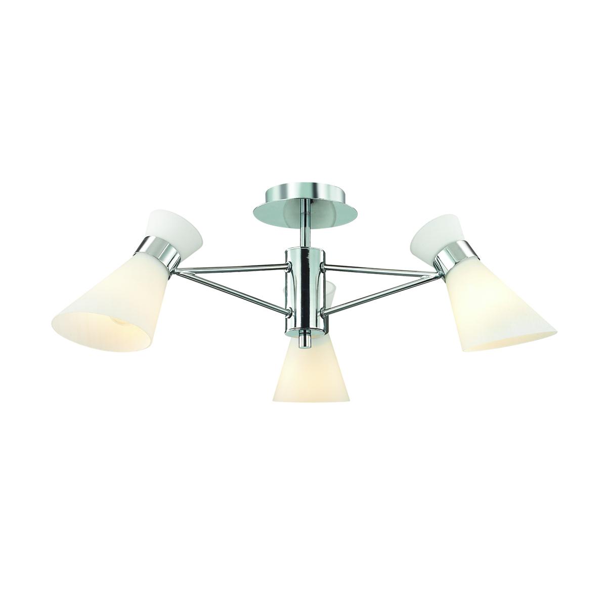 Потолочная люстра Lumion Moderni Laconica 3498/3, 3xE14x40W, хром, белый, металл, стекло - фото 1