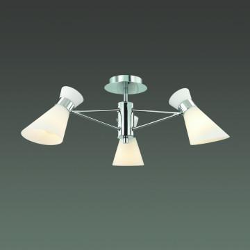 Потолочная люстра Lumion Moderni Laconica 3498/3, 3xE14x40W, хром, белый, металл, стекло - миниатюра 3