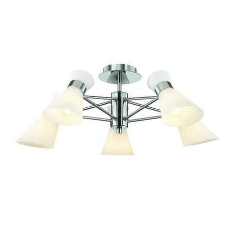 Потолочная люстра Lumion Moderni Laconica 3498/5, 5xE14x40W, хром, белый, металл, стекло