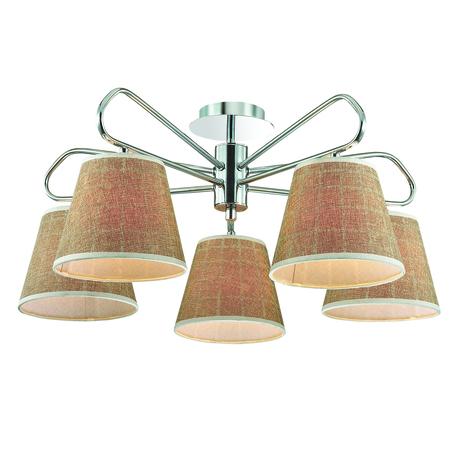 Потолочная люстра Lumion Graziana 3499/5, 5xE14x40W, хром, белый, коричневый, металл, текстиль - миниатюра 1