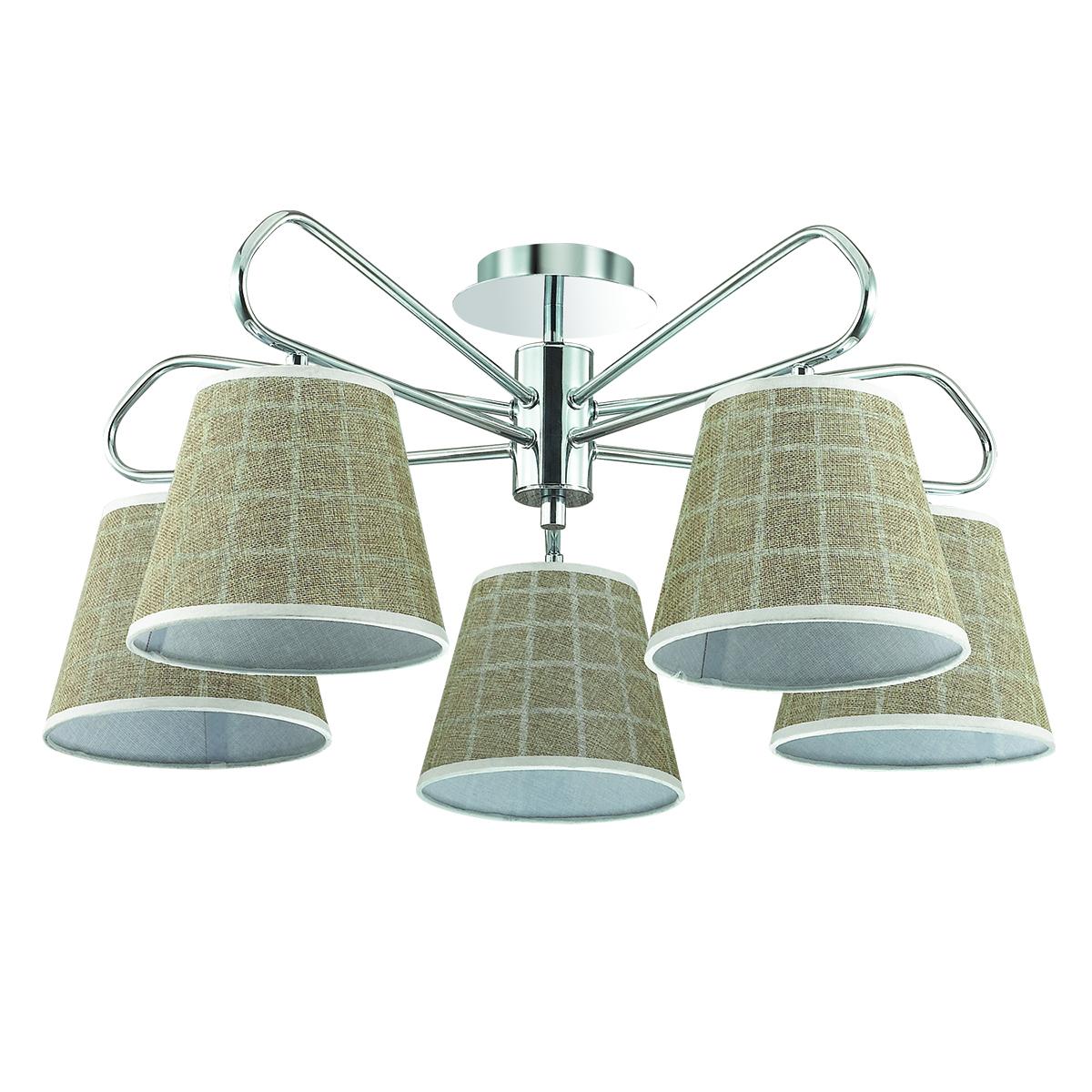 Потолочная люстра Lumion Graziana 3499/5, 5xE14x40W, хром, белый, коричневый, металл, текстиль - фото 2