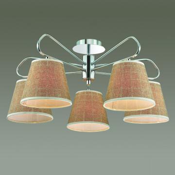 Потолочная люстра Lumion Graziana 3499/5, 5xE14x40W, хром, белый, коричневый, металл, текстиль - миниатюра 3