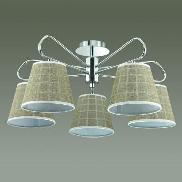 Потолочная люстра Lumion Graziana 3499/5, 5xE14x40W, хром, белый, коричневый, металл, текстиль - миниатюра 4
