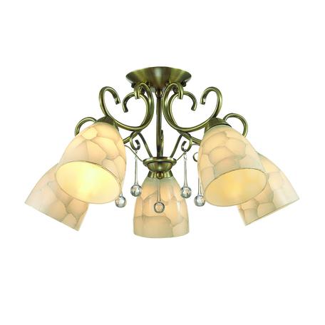 Потолочная люстра Lumion Eleconca 3511/5C, 5xE27x60W, бронза, бежевый, прозрачный, металл, стекло