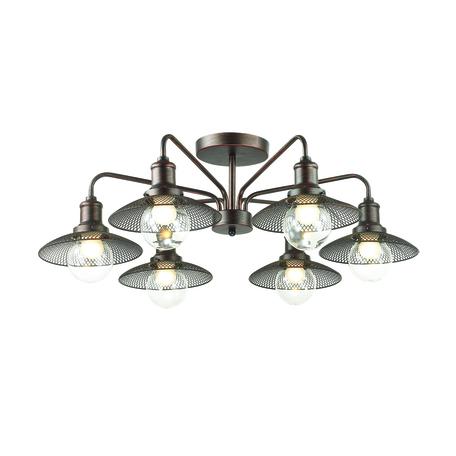 Потолочная люстра Lumion Ludacris 3513/6C, 6xE27x60W, коричневый, прозрачный, металл, стекло