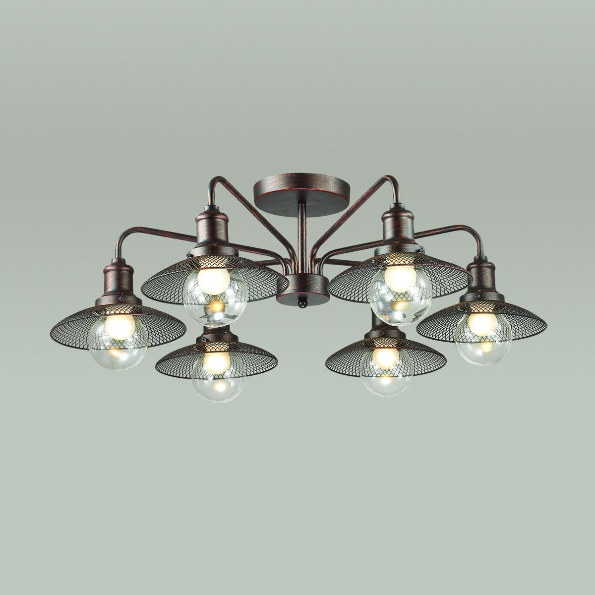 Потолочная люстра Lumion Ludacris 3513/6C, 6xE27x60W, коричневый, прозрачный, металл, стекло - фото 3