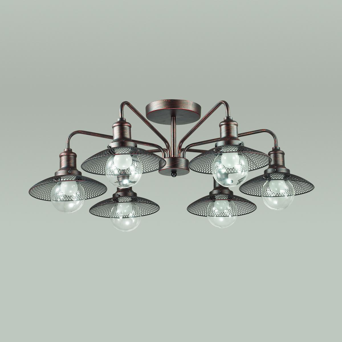 Потолочная люстра Lumion Ludacris 3513/6C, 6xE27x60W, коричневый, прозрачный, металл, стекло - фото 4