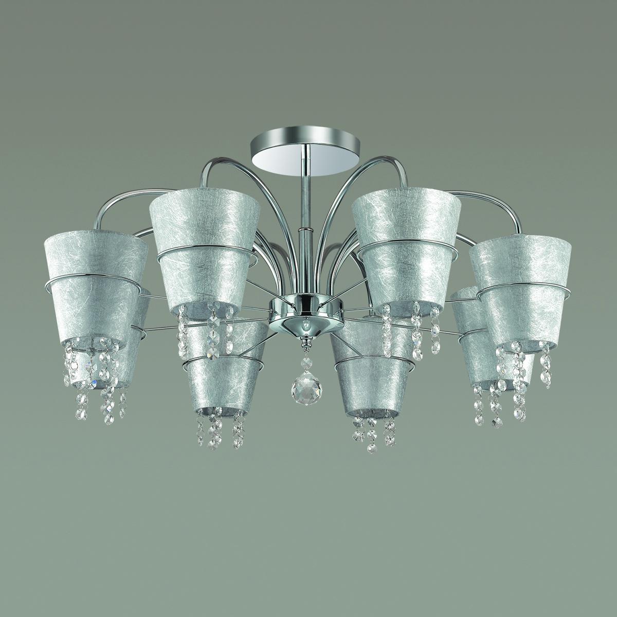 Потолочная люстра Lumion Buonaprana 3520/8C, 8xE14x40W, хром, серебро, прозрачный, металл, текстиль, хрусталь - фото 4