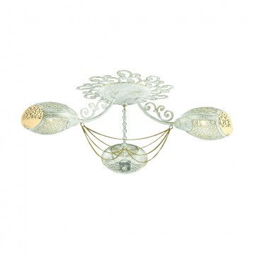 Потолочная люстра Lumion Melbano 3500/3C, 3xE14x40W, белый с золотой патиной, золото, прозрачный, металл, хрусталь