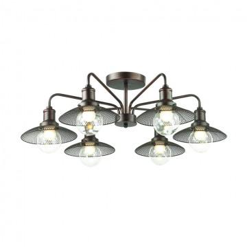 Потолочная люстра Lumion Ludacris 3513/6C, 6xE27x60W, коричневый, прозрачный, металл, стекло - миниатюра 1