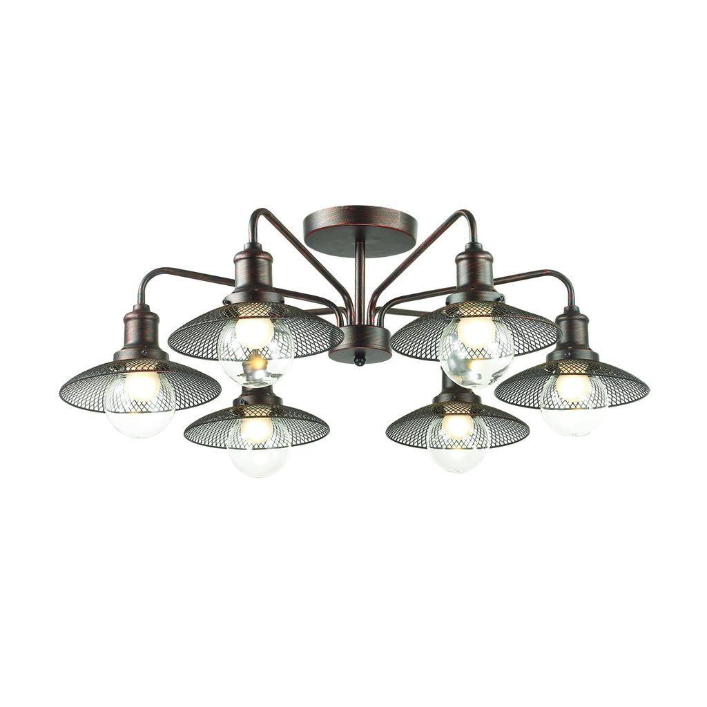 Потолочная люстра Lumion Ludacris 3513/6C, 6xE27x60W, коричневый, прозрачный, металл, стекло - фото 1
