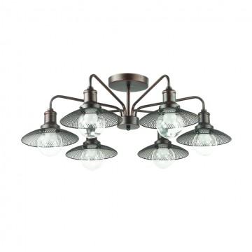 Потолочная люстра Lumion Ludacris 3513/6C, 6xE27x60W, коричневый, прозрачный, металл, стекло - миниатюра 2