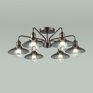 Потолочная люстра Lumion Ludacris 3513/6C, 6xE27x60W, коричневый, прозрачный, металл, стекло - миниатюра 3