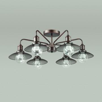 Потолочная люстра Lumion Ludacris 3513/6C, 6xE27x60W, коричневый, прозрачный, металл, стекло - миниатюра 4