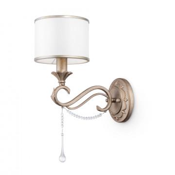 Бра Maytoni Fiore H235-01-G, 1xE14x40W, матовое золото, белый, прозрачный, металл, текстиль