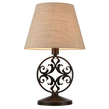 Настольная лампа Maytoni Rustika H899-22-R, 1xE27x40W, коричневый, бежевый, металл, ковка, текстиль