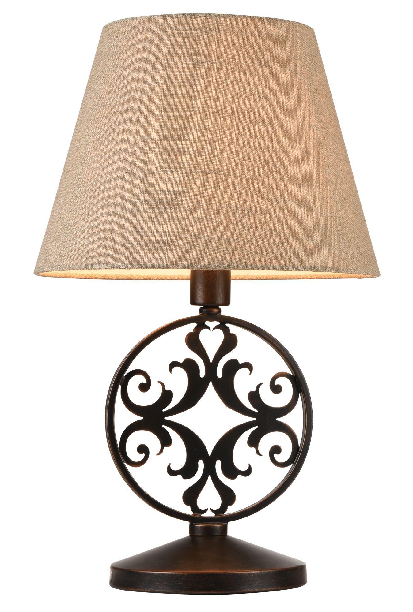 Настольная лампа Maytoni Rustika H899-22-R, 1xE27x40W, коричневый, бежевый, металл, ковка, текстиль - фото 1