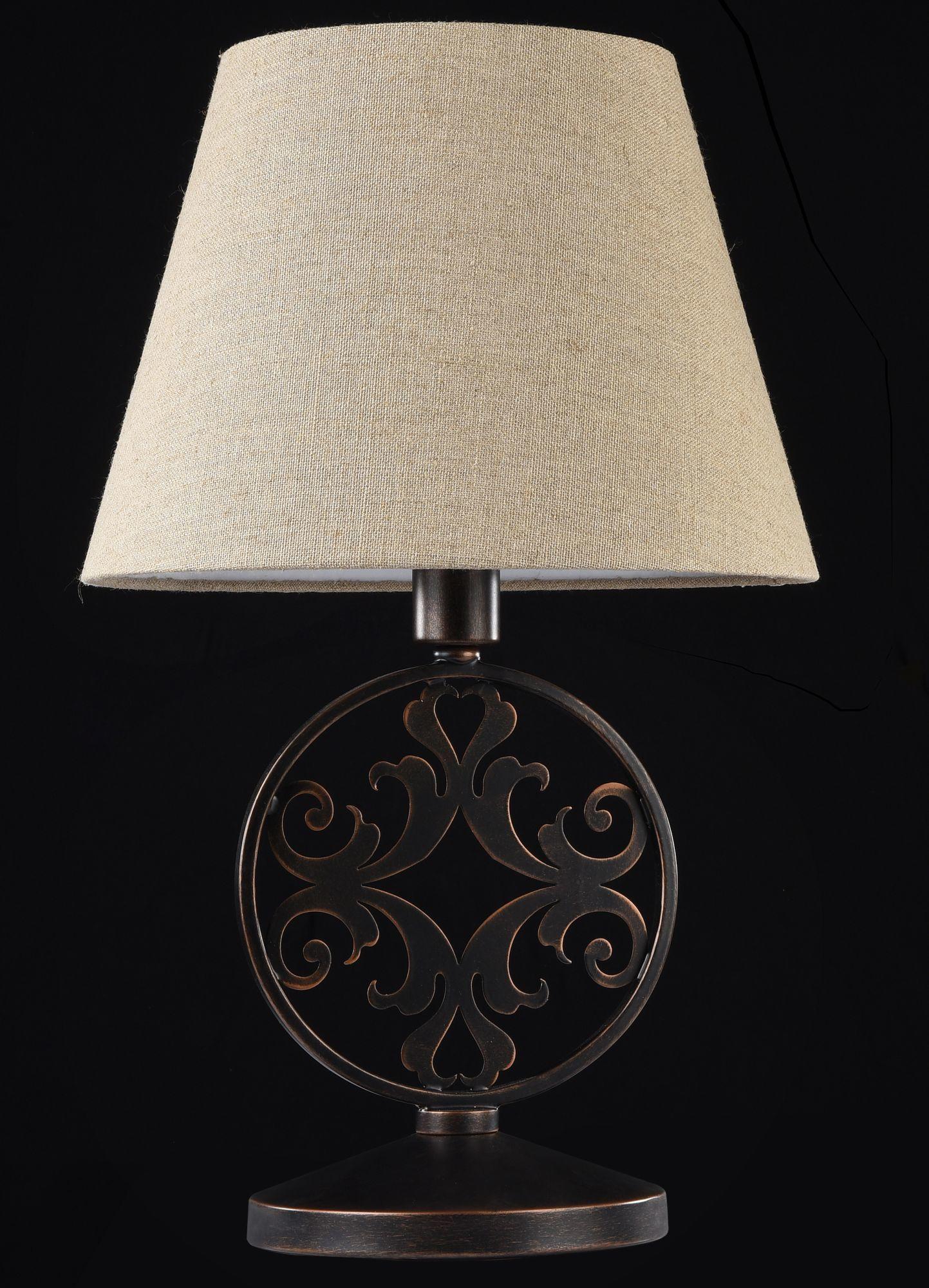 Настольная лампа Maytoni Rustika H899-22-R, 1xE27x40W, коричневый, бежевый, металл, ковка, текстиль - фото 2
