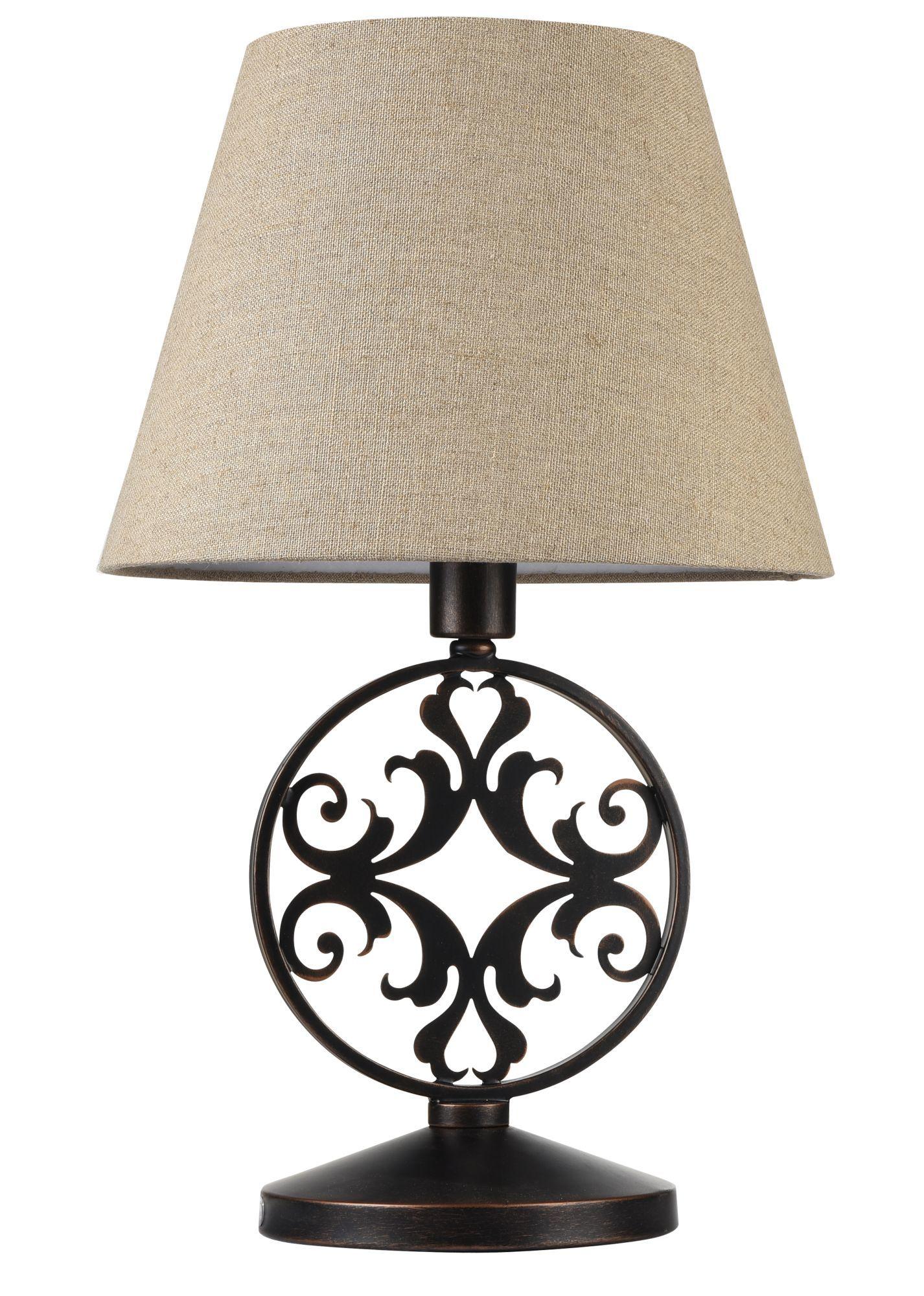 Настольная лампа Maytoni Rustika H899-22-R, 1xE27x40W, коричневый, бежевый, металл, ковка, текстиль - фото 3