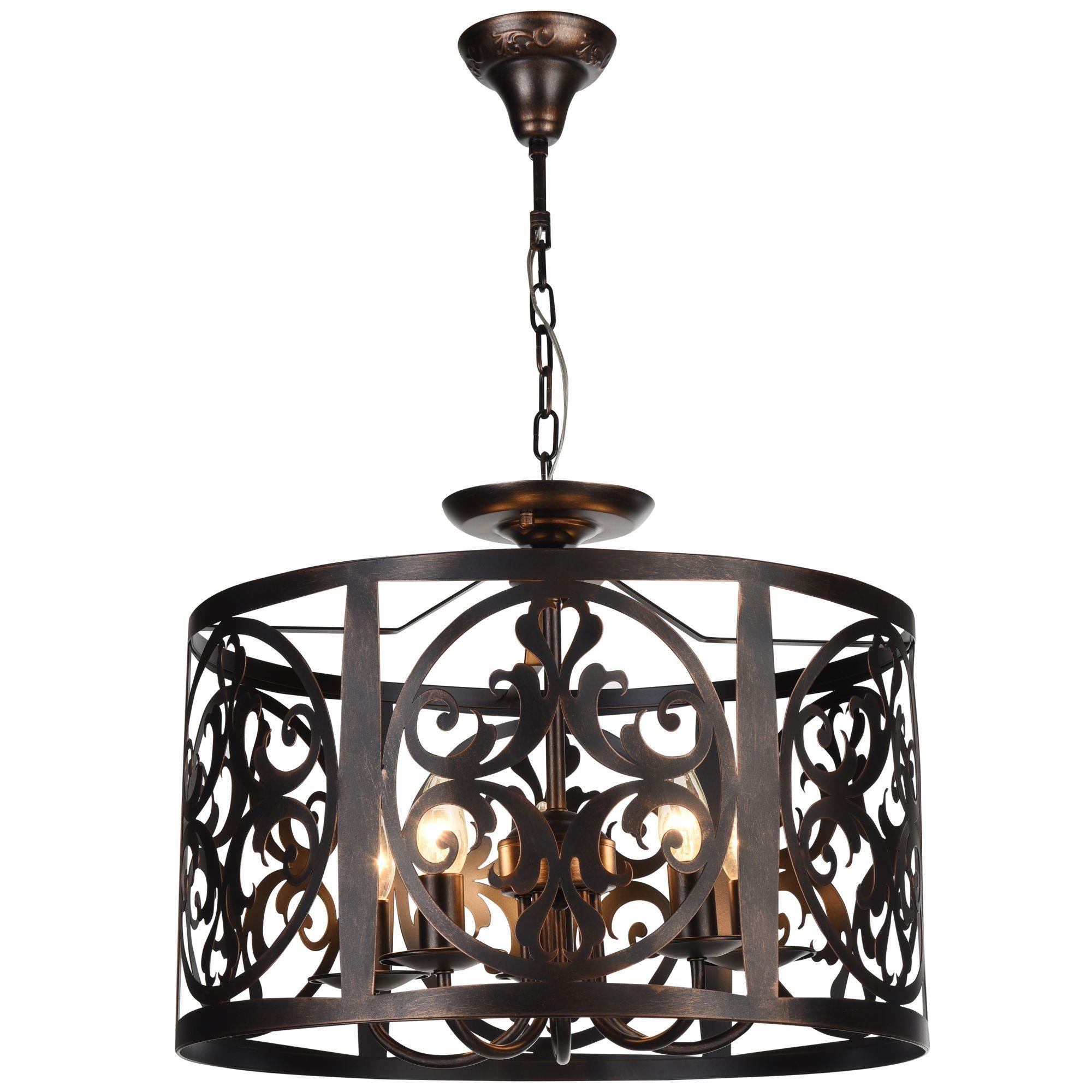 Подвесная люстра Maytoni Rustika H899-05-R, 5xE14x60W, коричневый, металл, ковка - фото 2