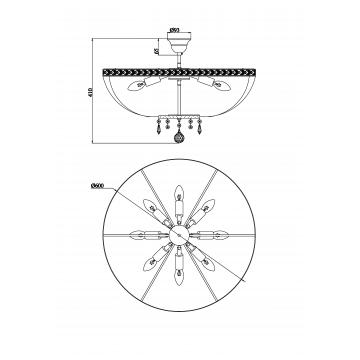 Схема с размерами Maytoni DIA750-PT60-WG