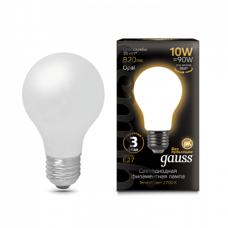 Филаментная светодиодная лампа Gauss 102202110 груша E27 10W, 2700K (теплый) CRI>90 185-265V, гарантия 3 года