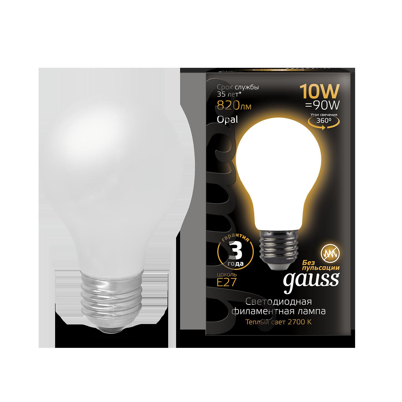 Филаментная светодиодная лампа Gauss 102202110 груша E27 10W, 2700K (теплый) CRI>90 185-265V, гарантия 3 года - фото 1