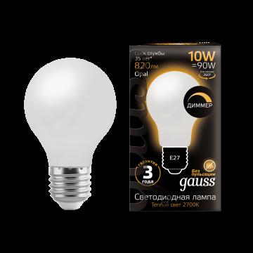 Филаментная светодиодная лампа Gauss 102202110 груша E27 10W, 2700K (теплый) CRI>90 185-265V, гарантия 3 года - миниатюра 3