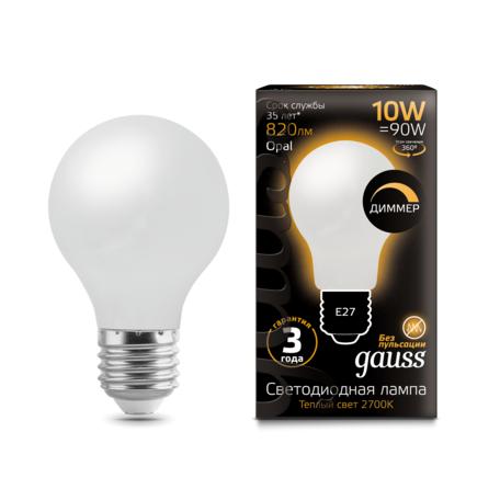 Филаментная светодиодная лампа Gauss 102202110-D груша E27 10W, 2700K (теплый) CRI>90 185-265V, диммируемая, гарантия 3 года