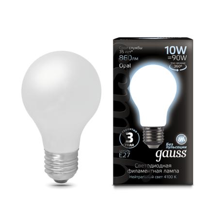 Филаментная светодиодная лампа Gauss 102202210 груша E27 10W, 4100K (холодный) CRI>90 185-265V, гарантия 3 года