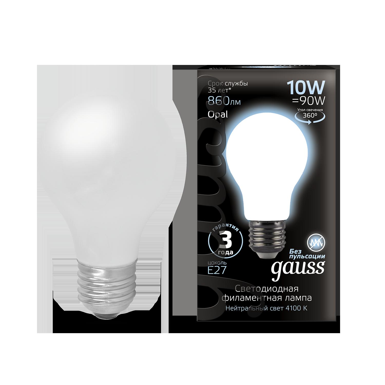 Филаментная светодиодная лампа Gauss 102202210 груша E27 10W, 4100K (холодный) CRI>90 185-265V, гарантия 3 года - фото 1