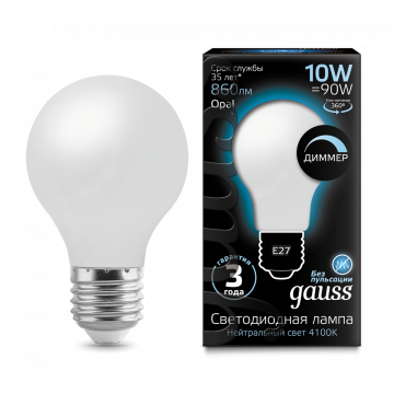 Филаментная светодиодная лампа Gauss 102202210 груша E27 10W, 4100K (холодный) CRI>90 185-265V, гарантия 3 года - миниатюра 3
