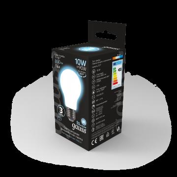 Филаментная светодиодная лампа Gauss 102202210 груша E27 10W, 4100K (холодный) CRI>90 185-265V, гарантия 3 года - миниатюра 6