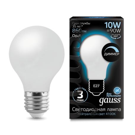 Филаментная светодиодная лампа Gauss 102202210-D груша E27 10W, 4100K (холодный) CRI>90 185-265V, диммируемая, гарантия 3 года