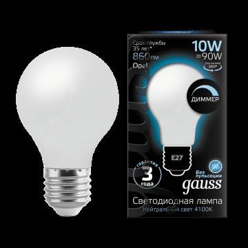 Филаментная светодиодная лампа Gauss 102202210-D груша E27 10W, 4100K (холодный) CRI>90 185-265V, диммируемая, гарантия 3 года - миниатюра 2