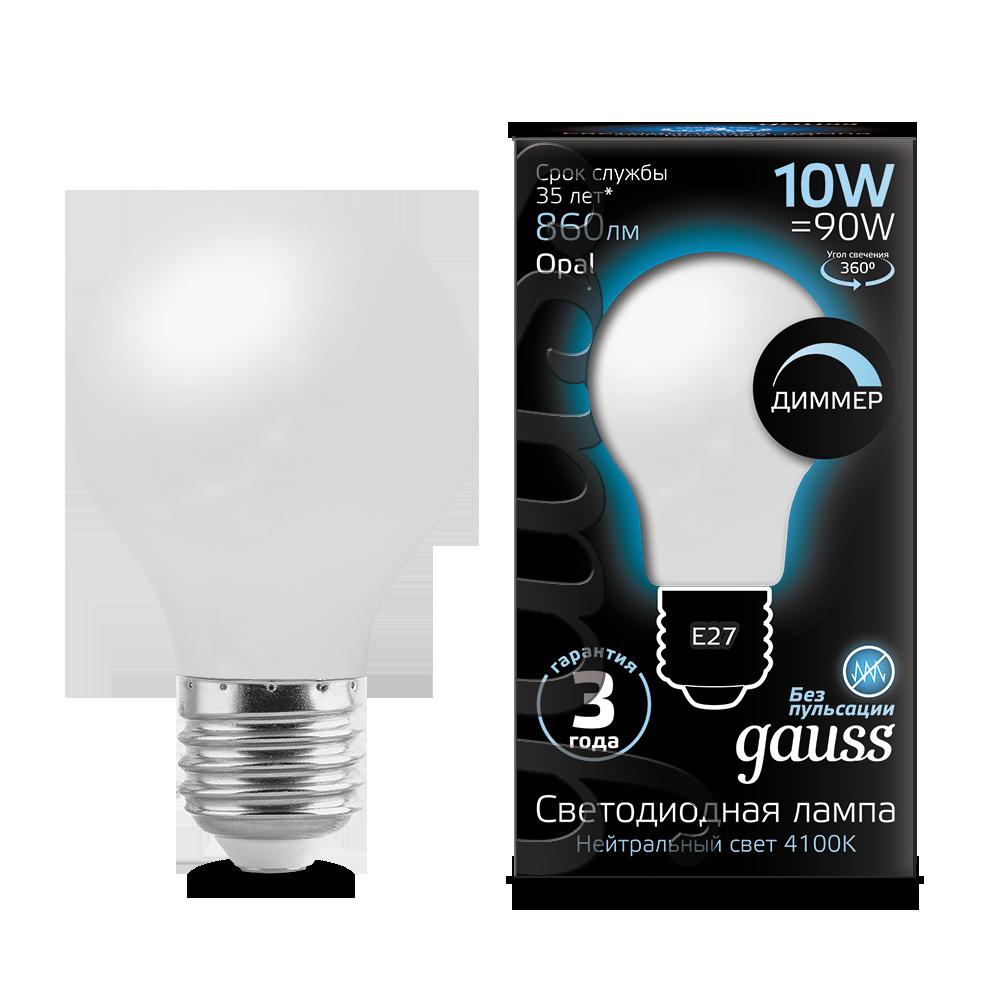 Филаментная светодиодная лампа Gauss 102202210-D груша E27 10W, 4100K (холодный) CRI>90 185-265V, диммируемая, гарантия 3 года - фото 2