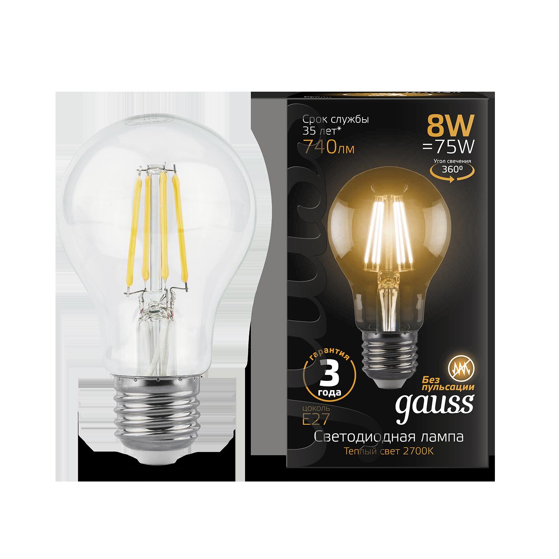 Филаментная светодиодная лампа Gauss 102802108 груша E27 8W, 2700K (теплый) CRI>90 185-265V, гарантия 3 года - фото 1