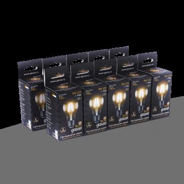 Филаментная светодиодная лампа Gauss 102802108 груша E27 8W, 2700K (теплый) CRI>90 185-265V, гарантия 3 года - миниатюра 3