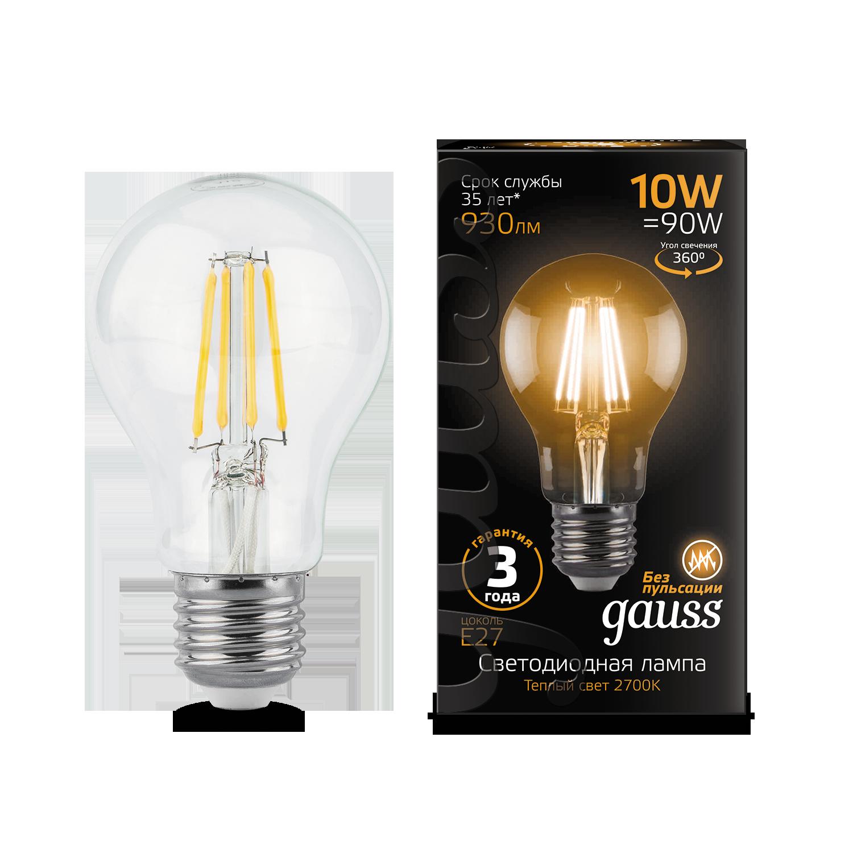 Филаментная светодиодная лампа Gauss 102802110 груша E27 10W, 2700K (теплый) CRI>90 185-265V, гарантия 3 года - фото 1