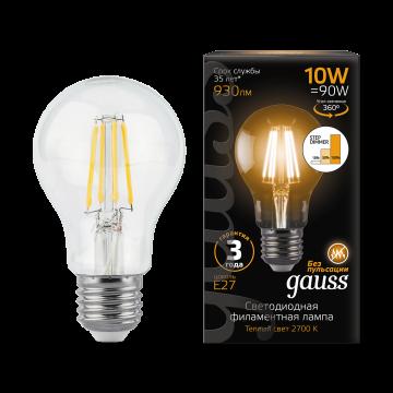 Филаментная светодиодная лампа Gauss 102802110 груша E27 10W, 2700K (теплый) CRI>90 185-265V, гарантия 3 года - миниатюра 2