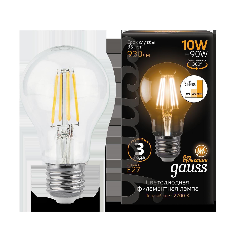 Филаментная светодиодная лампа Gauss 102802110 груша E27 10W, 2700K (теплый) CRI>90 185-265V, гарантия 3 года - фото 2