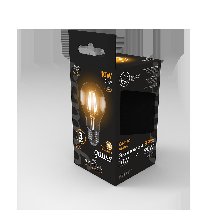 Филаментная светодиодная лампа Gauss 102802110 груша E27 10W, 2700K (теплый) CRI>90 185-265V, гарантия 3 года - фото 8