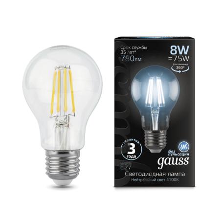 Филаментная светодиодная лампа Gauss 102802208 груша E27 8W, 4100K (холодный) CRI>90 185-265V, гарантия 3 года