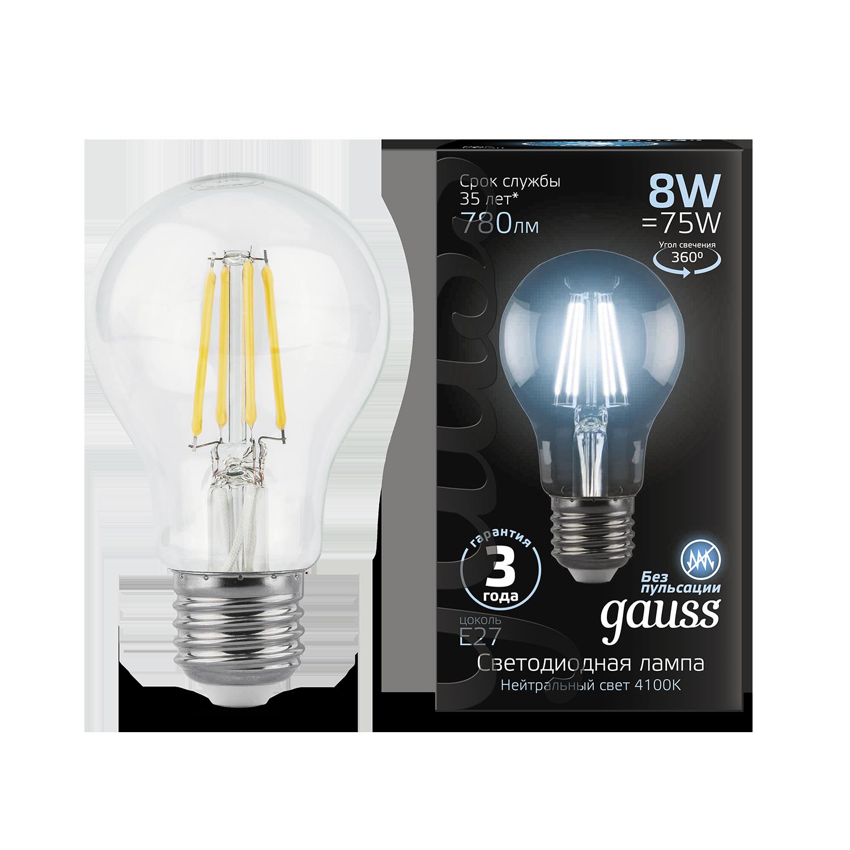 Филаментная светодиодная лампа Gauss 102802208 груша E27 8W, 4100K (холодный) CRI>90 185-265V, гарантия 3 года - фото 1