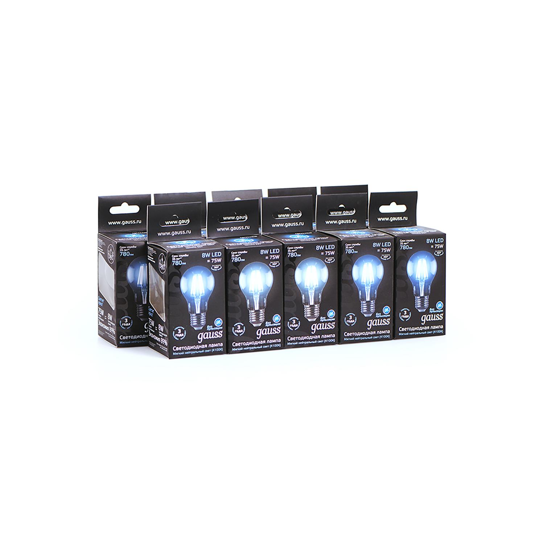 Филаментная светодиодная лампа Gauss 102802208 груша E27 8W, 4100K (холодный) CRI>90 185-265V, гарантия 3 года - фото 3