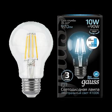 Филаментная светодиодная лампа Gauss 102802210 груша E27 10W, 4100K (холодный) CRI>90 185-265V, гарантия 3 года - миниатюра 2