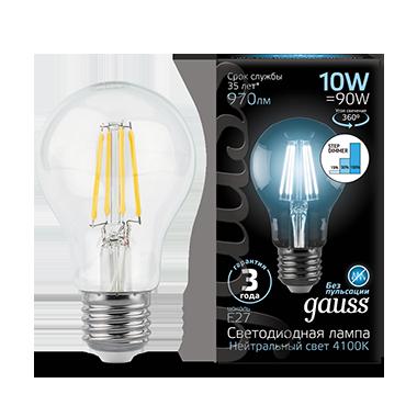 Филаментная светодиодная лампа Gauss 102802210 груша E27 10W, 4100K (холодный) CRI>90 185-265V, гарантия 3 года - фото 2